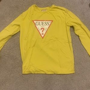 Guess jeans yellow logo long sleeve tee